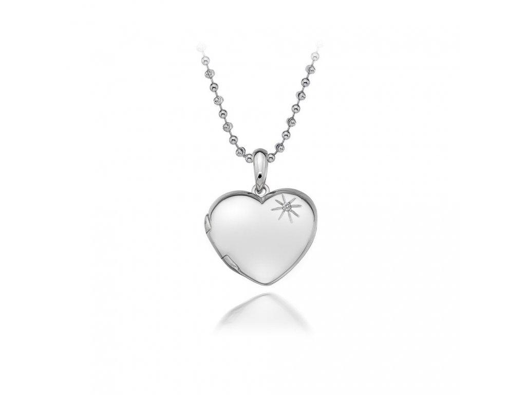 Stříbrný přívěsek Hot Diamonds Memories Heart Locket