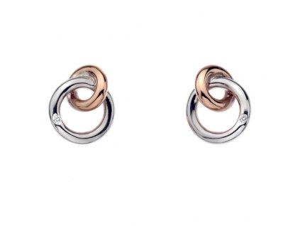 Stříbrné náušnice Hot Diamonds Eternity Interlocking Rose Gold Stud DE309