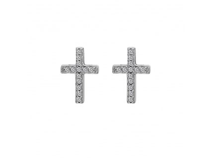 Stříbrné náušnice Hot Diamonds Cross Micro Bliss DE552