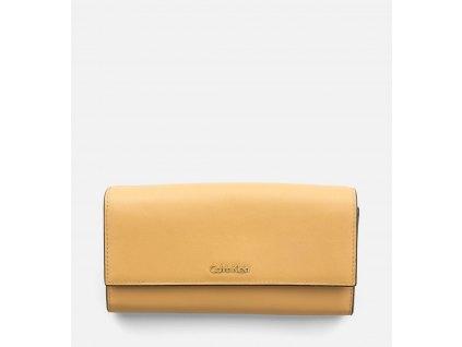 Large Leather Trifold Wallet písková