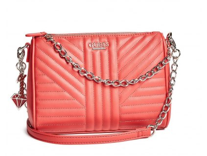 KABELKA GUESS MARISOL QUILTED CROSSBODY světle coral