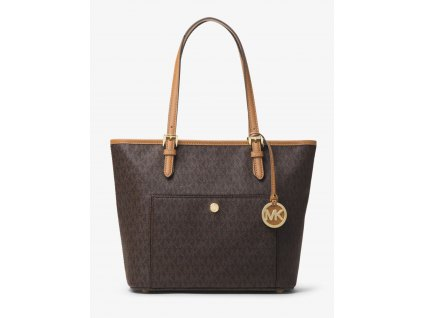 MICHAEL KORS JET SET TRAVEL MEDIUM LOGO TOTE hnědá