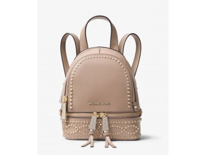 Rhea Mini Studded Leather Backpack truffle