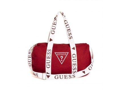 Guess logo duffle bag červený