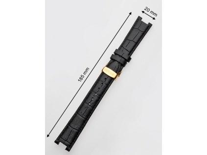 Řemínek na hodinky Juwelis JW-0601 20mm černý se zlatou sponou