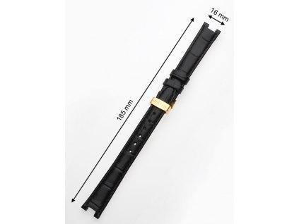 Řemínek na hodinky Juwelis JW-0602 16mm černý se zlatou sponou
