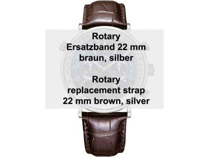 Řemínek na hodinky Rotary  22 mm ref. 29163 hnědý