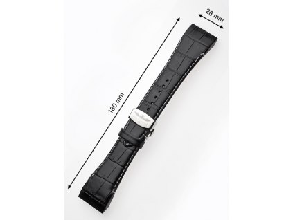 Řemínek na hodinky Perigaum P-0812 28mm černý bez spony