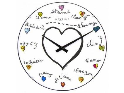 Designové nástěnné hodiny 3160 Nextime Loving You Dome 35cm vrácené zboží