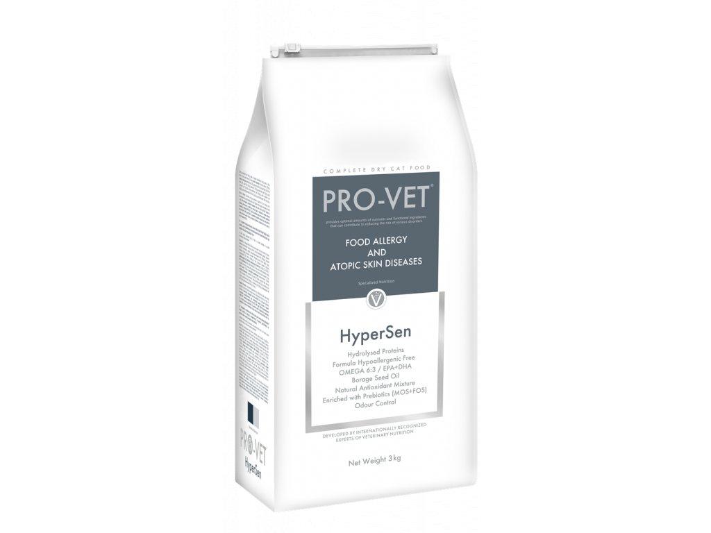Veterinární granule pro kočky - potravinová alergie a atopie - PRO-VET Hypersen 3 Kg
