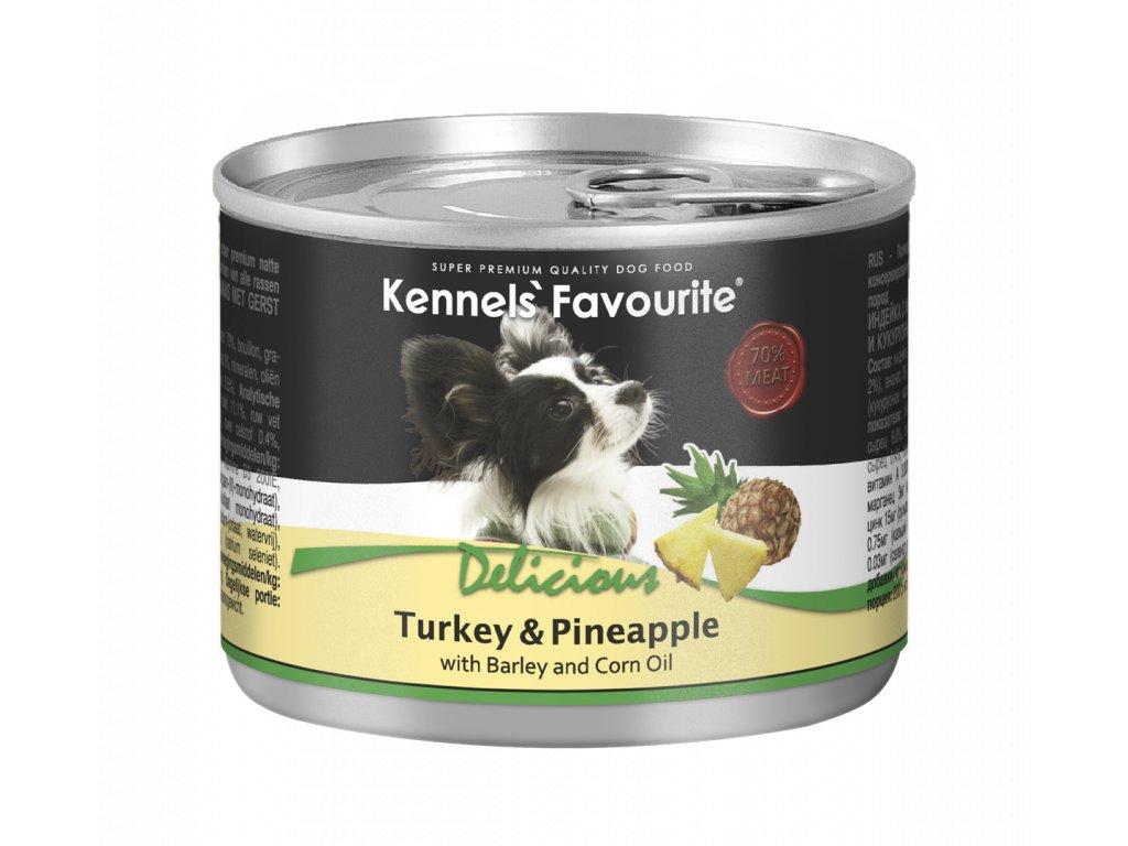 Konzerva pro psy - Kennels' Favourite krůta + ananas s kukuřičným olejem 200 g