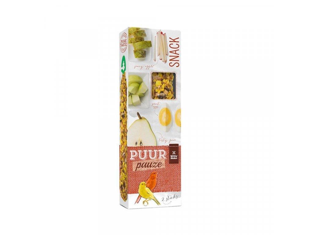 Pamlsek pro kanáry PUUR pauze tyčinky - hruška + vejce Witte Molen 60 g