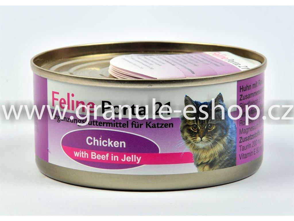 Konzerva pro kočky - Feline Porta 21 - kuřecí s hovězím 156 g