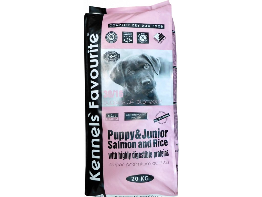 Granule pro štěňata - Kennels' Favourite Puppy&junior Salmon and rice 20 Kg