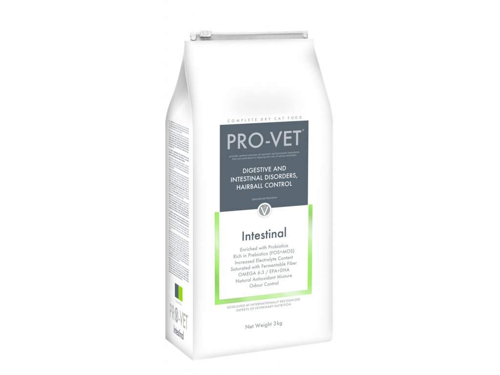 Veterinární granule pro kočky - akutní průjmy, špatné trávení - PRO-VET Intestinal 3 Kg