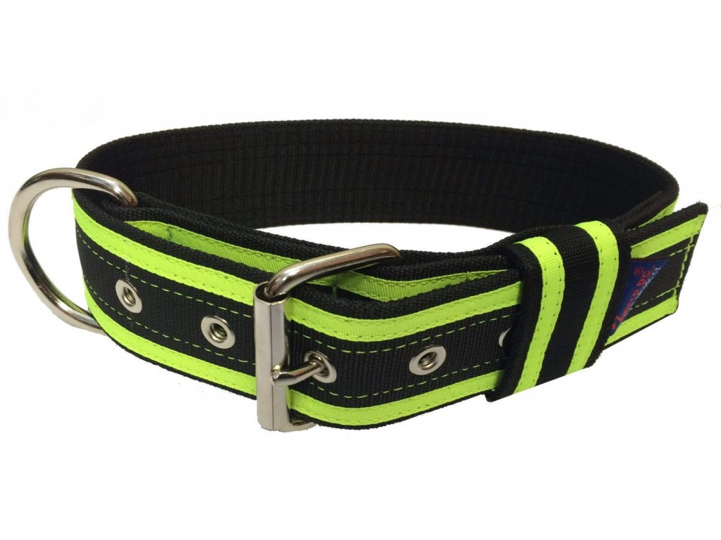 Obojek GIGA černá+neon zelená