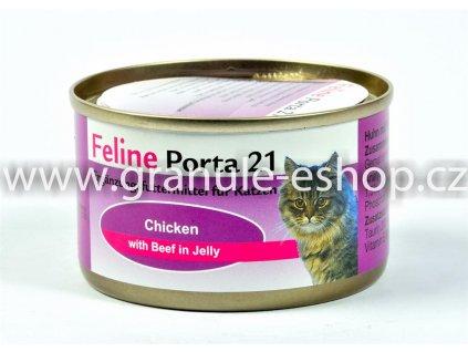 Konzerva pro kočky - Feline Porta 21 - kuřecí s hovězím 90 g