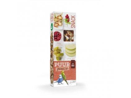 Pamlsky pro andulky PUUR pauze tyčinky jablko + šípek - Witte Molen 60 g
