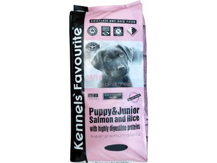 Granule pro štěňata - Kennels' Favourite Puppy&junior Salmon and rice 3 Kg