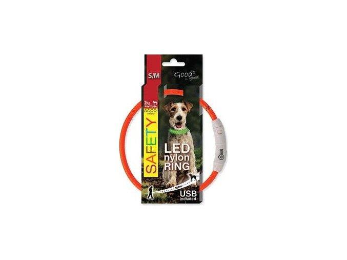 Obojek DOG FANTASY světelný USB oranžový 45cm 1ks