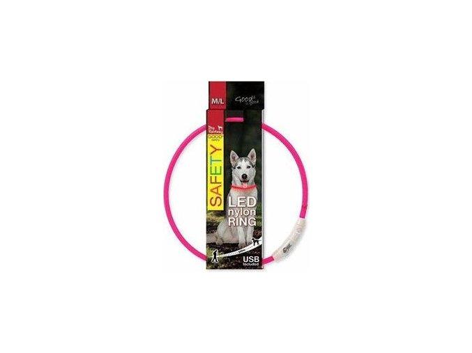 Obojek DOG FANTASY světelný USB růžový 65cm 1ks