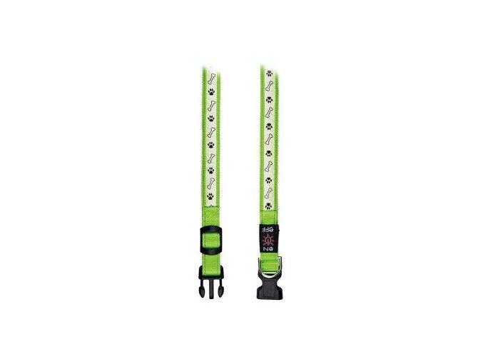 Obojek USB svítící 30-40cm/25mm S-M zelený TR