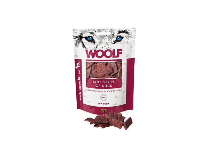 WOOLF pochoutka soft strips of duck 100g