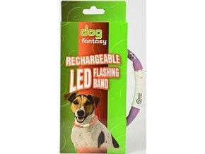 Obojek DOG FANTASY světelný USB fialový 45 cm 1ks