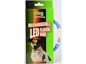 Obojek DOG FANTASY světelný USB sv.modrý 45 cm 1ks