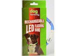 Obojek DOG FANTASY světelný USB sv.modrý 70 cm 1ks
