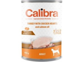 Calibra Dog  konz.  Adult krůta a kuřecí srdíčka 400g