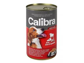 Calibra Dog  konz. hovězí+játra+zelenina v želé 1240g