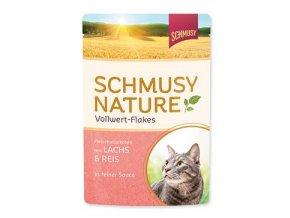 Schmusy Cat Nature Flakes kapsa losos+rýže+šťáva 100g