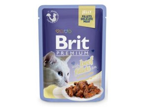 Brit Premium Cat D Fillets in Jelly with Beef 85g