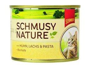 Schmusy Cat Nature Menu konzerva kuře+losos 190g
