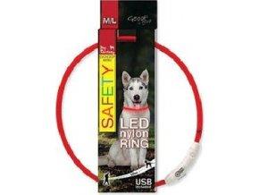 Obojek DOG FANTASY světelný USB červený 65cm 1ks