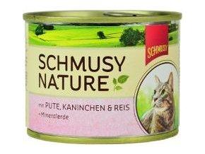 Schmusy Cat Nature Menu konzerva krůta+králík 190g