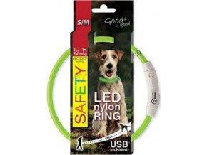 Obojek DOG FANTASY světelný USB zelený 45cm 1ks