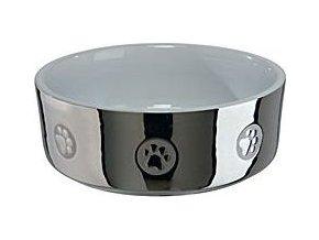 Miska keramická pes stříbrná s tlapkou 1,5l 19cm TR