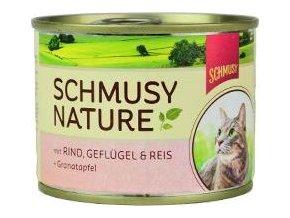 Schmusy Cat Nature Menu konzerva hovězí+drůbež 190g