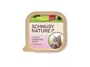 Schmusy Cat Nature Menu vanička krůta+králík 100g