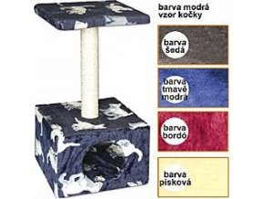 Škrábadlo Carmen modré -kočky 30x30x57