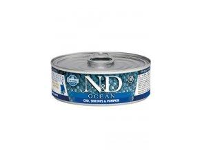 N&D CAT OCEAN Kitten Tuna&Codfish&Shrimps&Pumpkin 80g