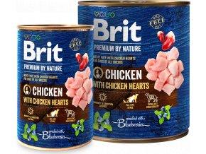 Brit Premium Dog by Nature  konzerva Chicken & Hearts 800g
