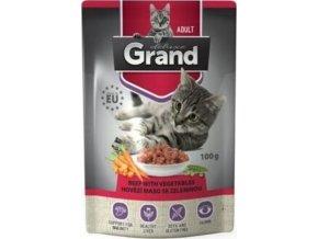 GRAND kaps. deluxe kočka hovězí se zel.100g