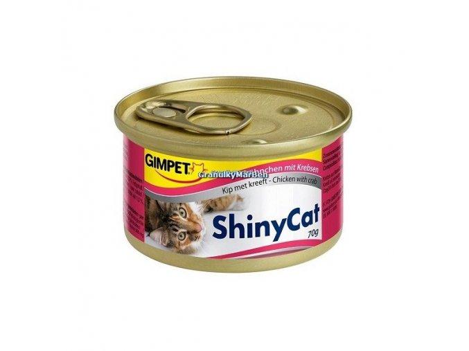 Konzervy ShinyCat Kuře a krab 2x70g