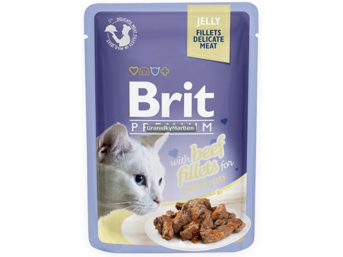 Brit Premium Cat Pouch with Beef Fillets in Jelly for Adult Cats