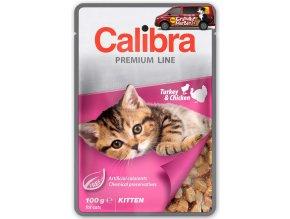Kapsička Calibra Kitten Krůtí a kuřecí v omáčce 100g