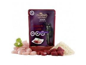 Kapsička Nuevo Cat Senior Drůbeží a jehněčí s rýží 85g
