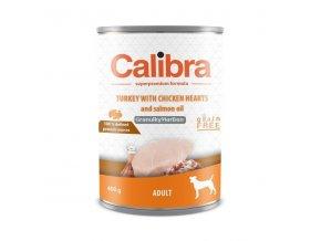 Konzerva Calibra Dog Adult Krůta a kuřecí srdíčka 400g